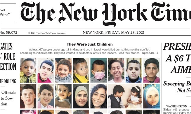 The front page of the May 28, 2021 issue of The New York Times featured images of children killed in the recent Israel-Hamas conflict. (nyt.com